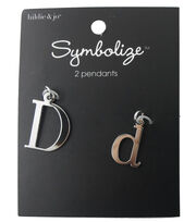 hildie & jo 2 Pack Letter 'D' Upper & Lower Case Silver Pendants, , hi-res