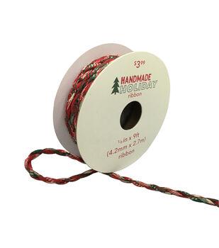 Handmade Holiday Christmas Fabric Twist Cord Ribbon 1/6''x9'-Red