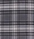 Anti-Pill Plush Fleece Fabric-Black Gray Distressed Plaid