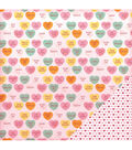 American Crafts Valentine Candy Hearts Double-Sided Cardstock