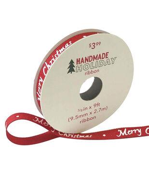 Handmade Holiday Christmas Ribbon 3/8''x9'-Merry Christmas on Red
