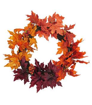 Blooming Autumn Berry & Leaf Wreath-Burgundy & Orange Glitter