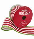 Maker\u0027s Holiday Christmas Ribbon 2.5\u0027\u0027x25\u0027-Red Glitter & White Stripes