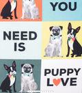 No Sew Fleece Throw 48\u0022-All You Need is Puppy Love
