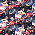 Patriotic Cotton Fabric-Eagles with Flags