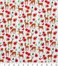 Christmas Cotton Print Fabric -Deer & Poinsettias