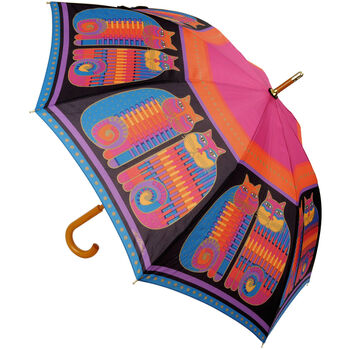 Laurel Burch Stick Umbrella- Rainbow Cat Cousins