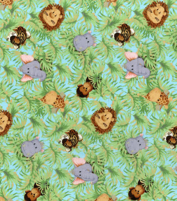 Nursery Cotton Fabric -Jungle Babies