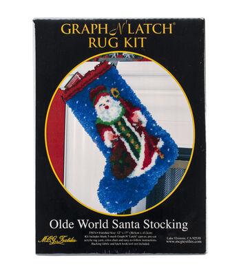 "Latch Hook Kit 12""X17""-Olde World Santa Stocking"