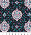 Premium Quilt Cotton Fabric -Medallions Purple Dk Pearl