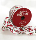 Maker\u0027s Holiday Christmas Ribbon 2.5\u0027\u0027x25\u0027-Glitter Birds on White