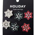 hildie & jo Holiday Earrings-Green, Red & Silver Snowflake