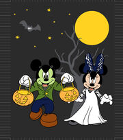 "Disney Halloween No-Sew Fleece Throw 48""-Mickey Minnie, , hi-res"