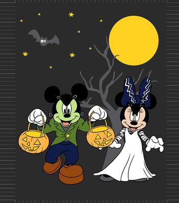 """Disney Halloween No-Sew Fleece Throw 48""""-Mickey Minnie"""