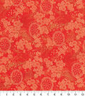 Asian Inspired Cotton Fabric 44\u0022-Red Circle Floral Met