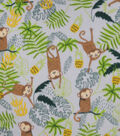 Anti-Pill Plush Fleece Fabric-Swinging Monkey on Gray