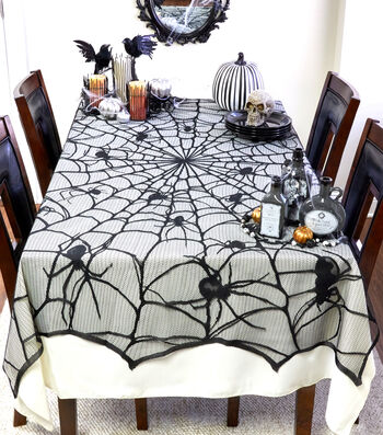 Maker's Halloween Lace Tablecloth-Creepy Spiders