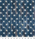 Patriotic Cotton Fabric-Rustic Stars on Blue Plank