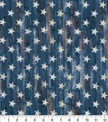 Patriotic Cotton Fabric-Rustic Stars on Blue Plank