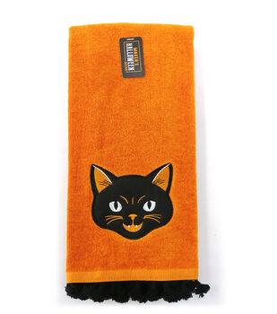 Maker's Halloween Decor 16''x26'' Towel with Trim-Cat on Orange