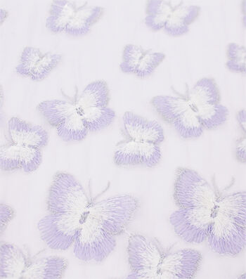 Sew Sweet Embellished Mesh Fabric 54''-Butterfly with Purple Border