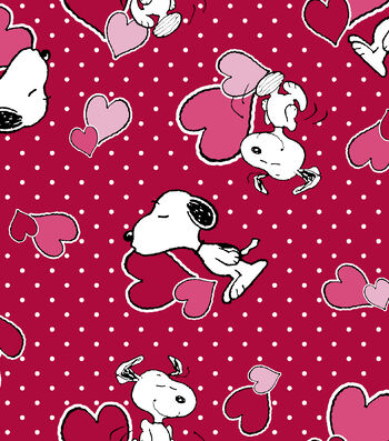 Valentine's Day Print Fabric -Red Peanuts Valentine