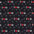 Blizzard Fleece Fabric-I Heart Paws on Black & Red