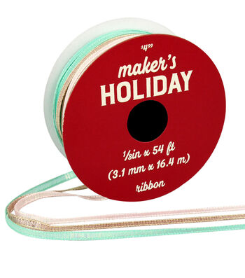 Maker's Holiday Christmas Ribbon 1/8''x54'-Pink, Rose Gold & Blue