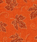 Harvest Linen Fabric 58\u0022-Glitter Leaves