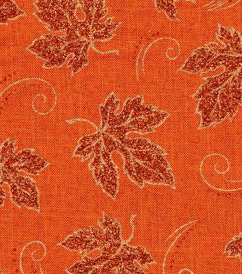 """Harvest Linen Fabric 58""""-Glitter Leaves"""
