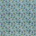 Novelty Cotton Fabric-Light Blue Metallic Cactus