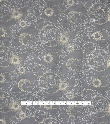 Halloween Spirit Fabric-Gold Celestial Sky