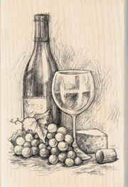 "Inkadinkado Mounted Rubber Stamp 4""X2.75""-Wine&Cheese, , hi-res"