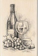 "Inkadinkado Mounted Rubber Stamp 4""X2.75""-Wine&Cheese, , hi-res"