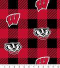 Wisconsin Badgers Fleece Fabric-Buffalo Plaid