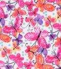 Anti-Pill Plush Fabric-Pink & Orange Watercolor Butterflies
