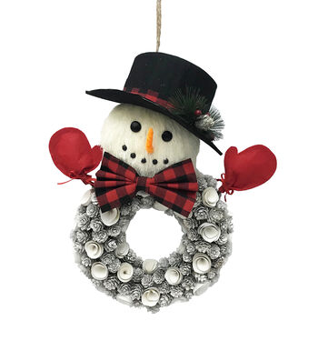 Blooming Holiday Christmas Wood Chip Snowman Wall Decor