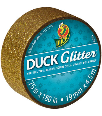 "Duck Glitter Mini Tape .75""x15`-Gold"