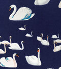 Snuggle Flannel Fabric -Swans On Navy
