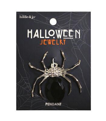 hildie & jo Halloween Bling Spider Silver Pendant-Black