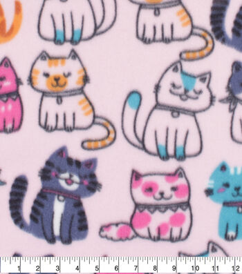 Blizzard Fleece Fabric-Multi Colored Cats on Pink