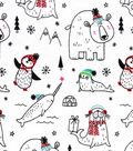 Snuggle Flannel Fabric -Sketched Holiday Animals