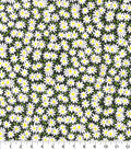 Keepsake Calico Cotton Fabric-Packed Daisies on Black
