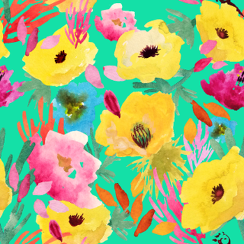 Yellow Poppies on Teal