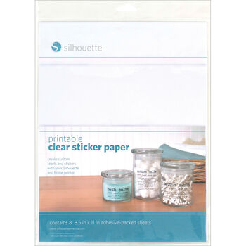"Silhouette Printable Sticker Paper 8.5""X11"" 8/Pkg-Clear"