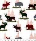 Snuggle Flannel Fabric-Bear & Stag on Cream