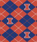 University of Illinois Fighting Illini Fleece Fabric 58\u0022-Argyle