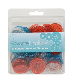 Favorite Findings 40 Big Buttons-Glitter Patriotic Red White Blue