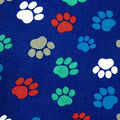 Novelty Cotton Fabric -Paw Prints On Navy