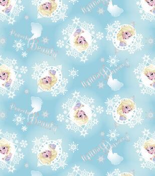 Disney Frozen Cotton Fabric-Elsa Metallic Badges